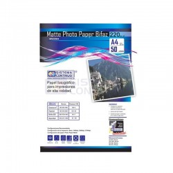 Papel Photo Matte 220gr Doble faz Resma A4 x50 Hojas