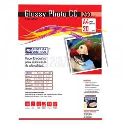 Papel Glossy Fotografico CC A4 260gr x 20 Hojas