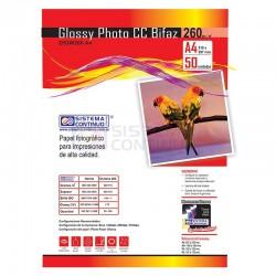 Papel Glossy Fotografico CC A4 260gr x 50 Hojas Doble Faz