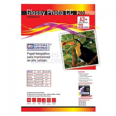Papel Glossy Fotografico CC A3+ 260gr x 20 Hojas