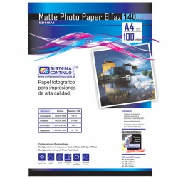 Papel Photo Matte 140gr Doble faz Resma A4 x100 Hojas