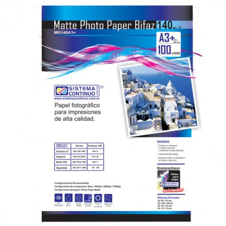 Papel Photo Matte 140gr Doble faz A3+ x100 Hojas