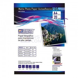 Papel Photo Matte Autoadhesivo 105gr A4 x 20 Hojas