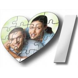 Rompecabezas sublimable de cartón Forma Corazón blanco brillante.