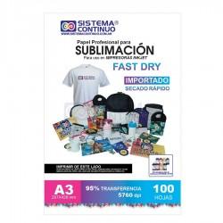 Papel para Sublimar Importado Fast Dry - A3 - Paquete x 100 hojas