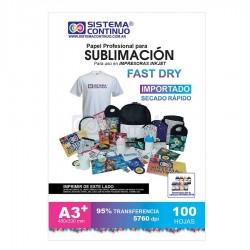 Papel para Sublimar Importado Fast Dry - A3+ - Paquete x 100 hojas