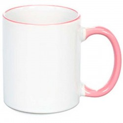 Taza Sublimable Importada Borde y Manija de color ROSA