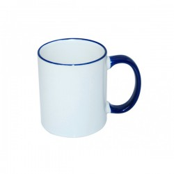 Taza Sublimable Importada Borde y Manija de color AZUL