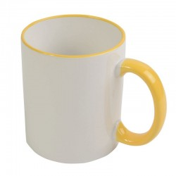 Taza Sublimable Importada Borde y Manija de color AMARILLO