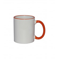 Taza Sublimable Importada Borde y Manija de color NARANJA